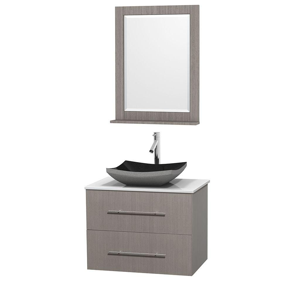 Centra 30-inch W Vanity in Grey Oak with Solid Top with Black Basin and Mirror