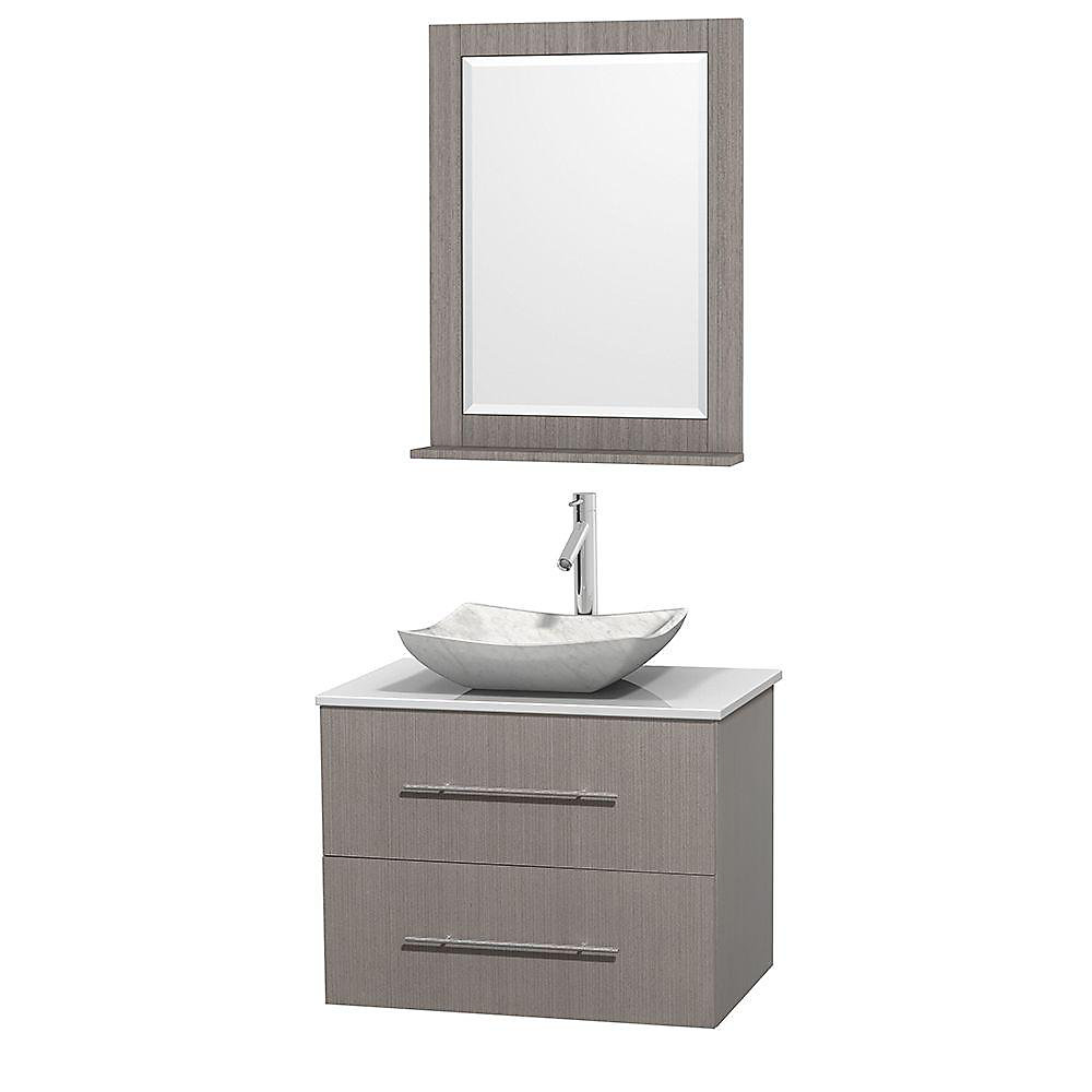 Centra 30-inch W 1-Drawer 1-Door Wall Mounted Vanity in Grey With Artificial Stone Top in White