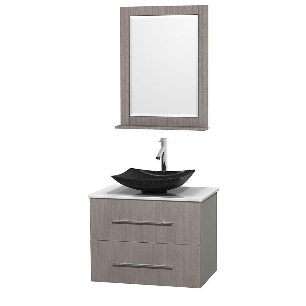 Meuble simple Centra 30 po. chêne gris, comptoir solide, lavabo granit noir, miroir 24 po.