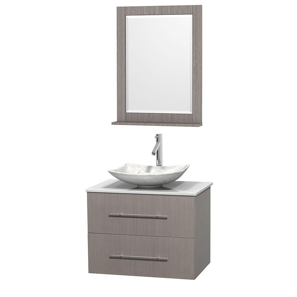 Centra 30-inch W Vanity in Grey Oak with Solid Top with White Basin and Mirror