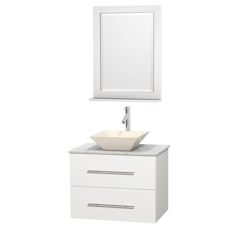Meuble unique Centra 30 po. blanc, comptoir blanc Carrare, lavabo porcelaine bone, miroir 24 po.