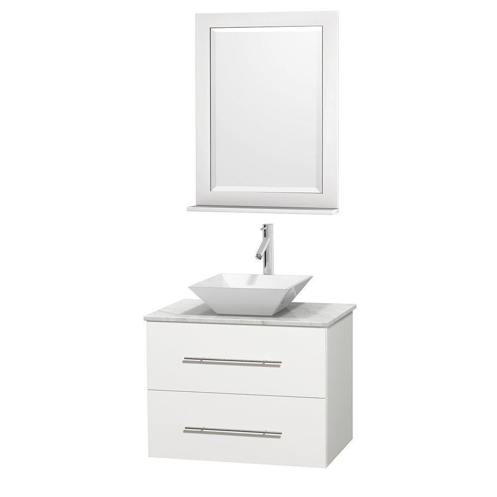 Meuble unique Centra 30 po. blanc, comptoir blanc Carrare, lavabo porcelaine blanche, miroir 24 p...