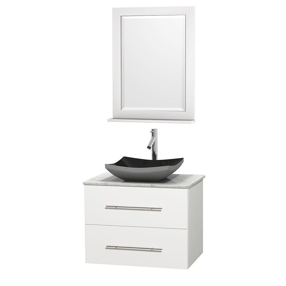 Centra 30-inch W Vanity in White with White Top with Black Basin and Mirror