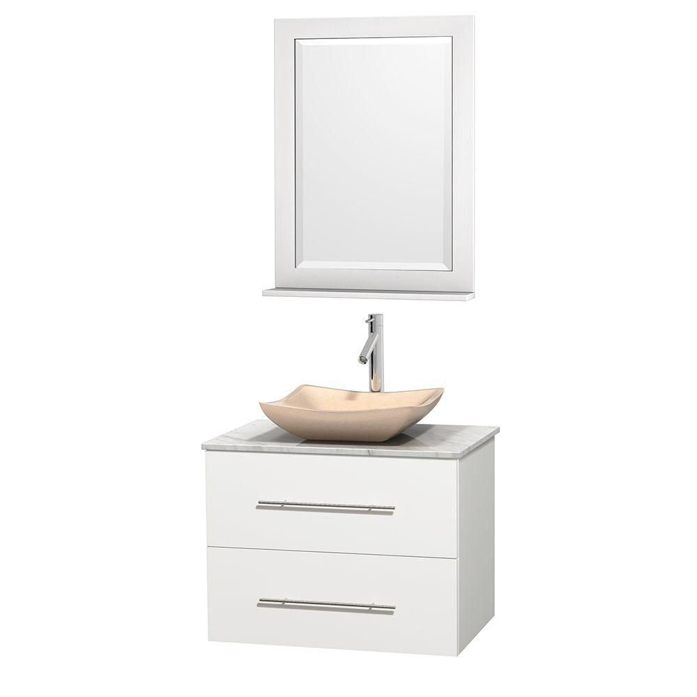 Centra 30 In. Single Vanity in White with White Carrera Top with Ivory Sink and 24 In. Mirror WCVW00930SWHCMGS2M24 Canada Discount