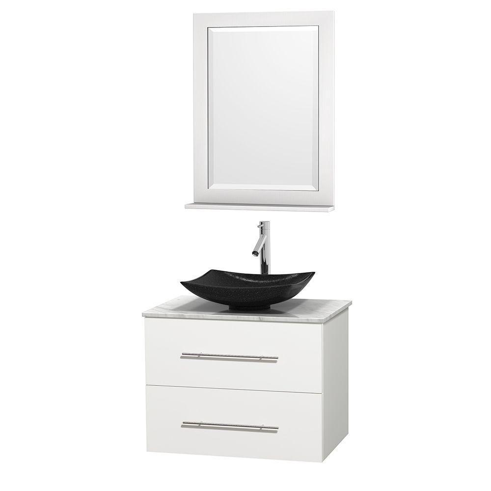 Meuble simple Centra 30 po. blanc, comptoir blanc Carrare, lavabo granit noir, miroir 24 po.