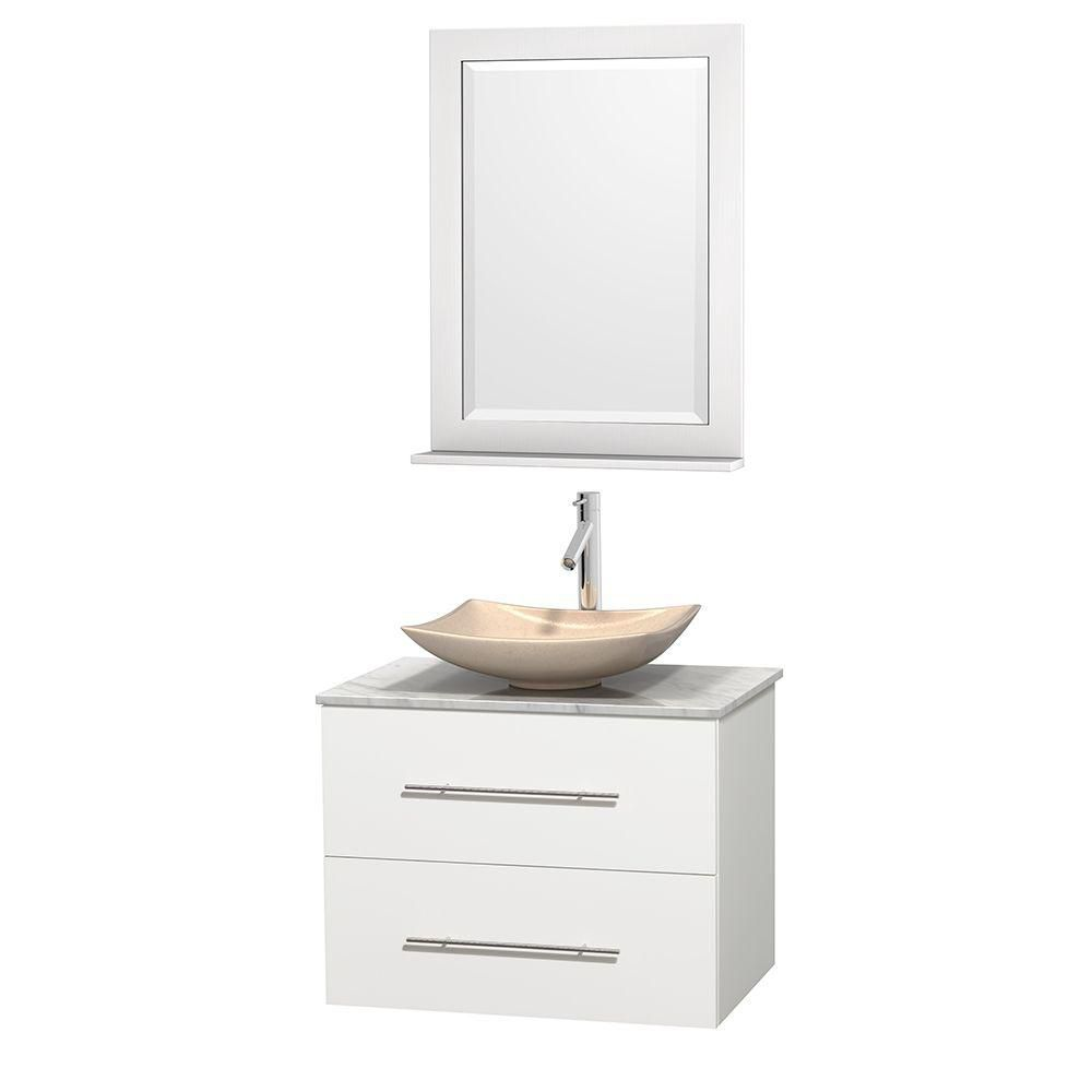 Centra 30-inch W Vanity in White with White Top with Ivory Basin and Mirror