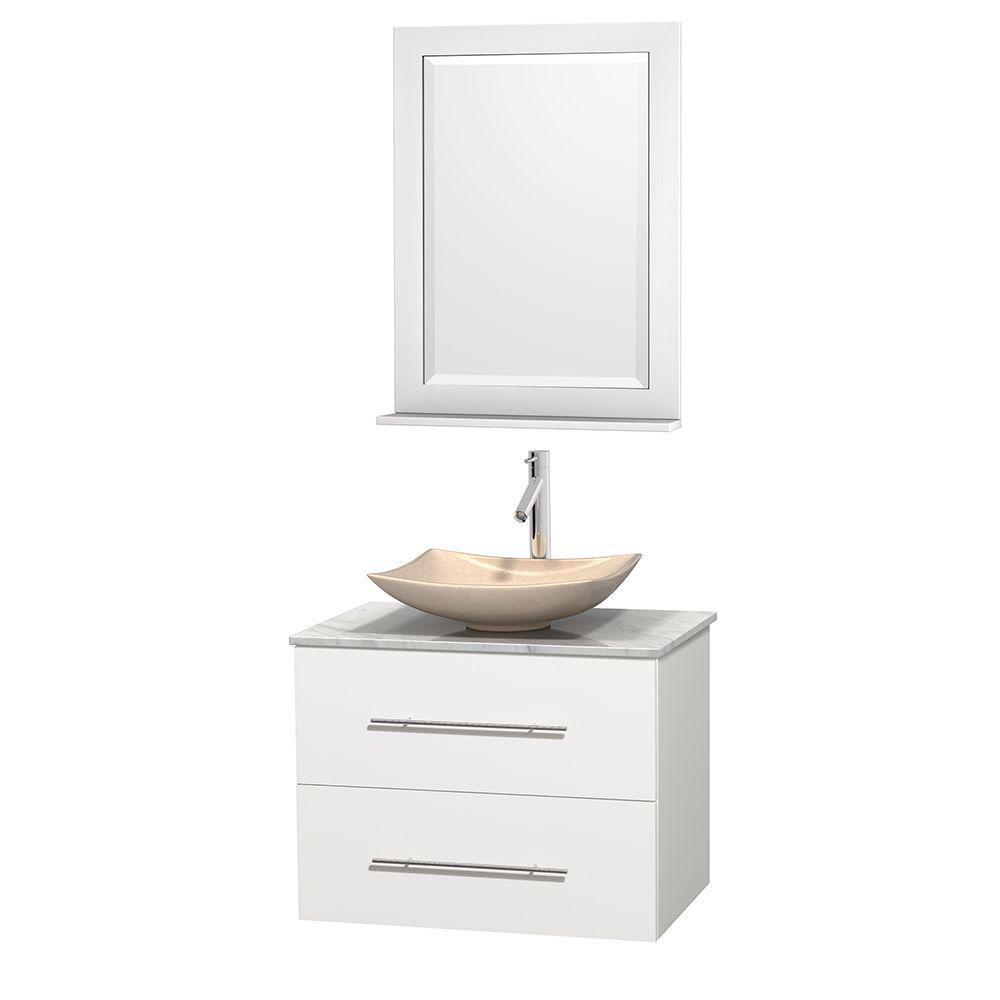 Meuble simple Centra 30 po. blanc, comptoir blanc Carrare, lavabo ivoire, miroir 24 po.