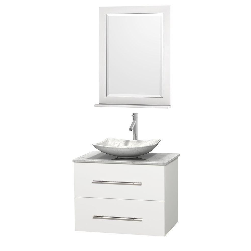 Meuble simple Centra 30 po. blanc, comptoir blanc Carrare, lavabo blanc Carrare, miroir 24 po.