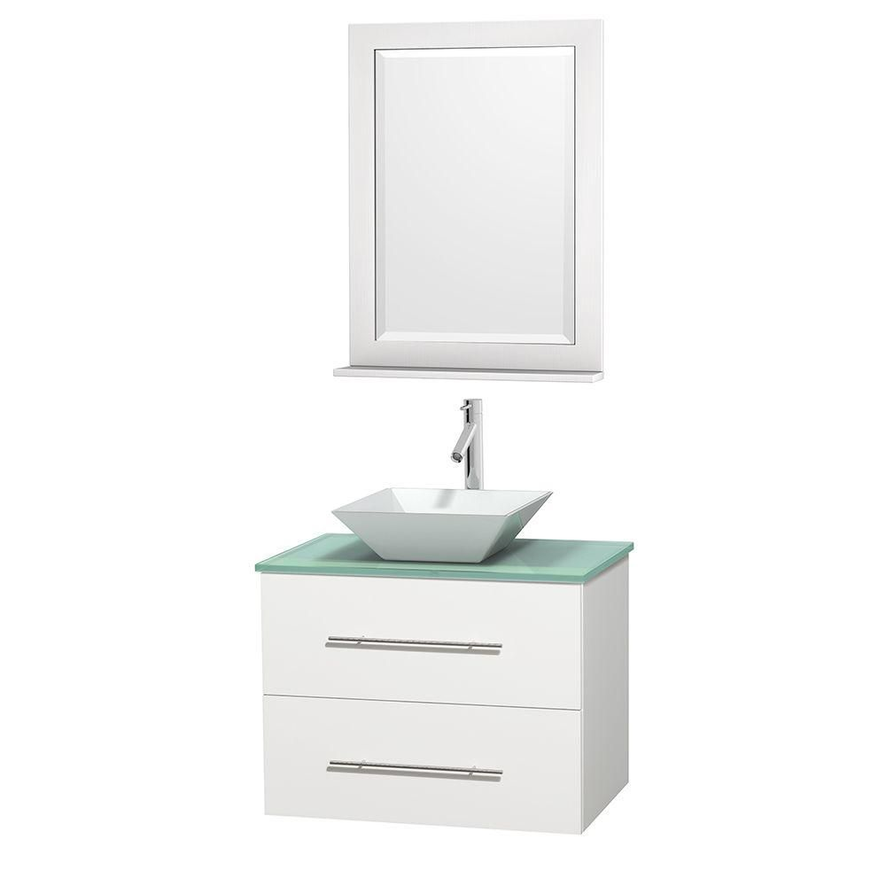 Centra 30-inch W 1-Drawer 1-Door Wall Mounted Vanity in White With Top in Green With Mirror