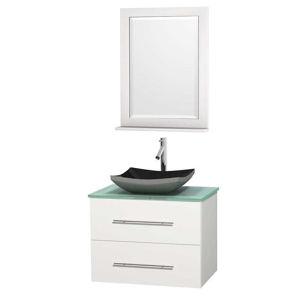 Meuble simple Centra 30 po. blanc, comptoir verre vert, lavabo granit noir, miroir 24 po.