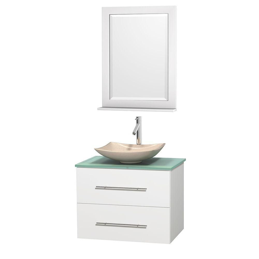 Centra 30-inch W Vanity in White with Glass Top with Ivory Basin and Mirror