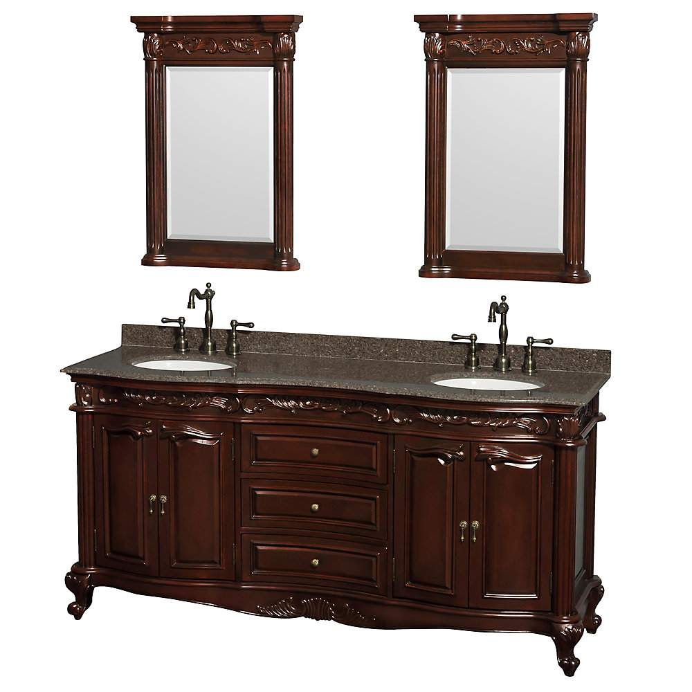 Meuble double Edinburgh 72 po. cerisier, comptoir granit noir impérial, lavabos ovales, miroirs 24 po.