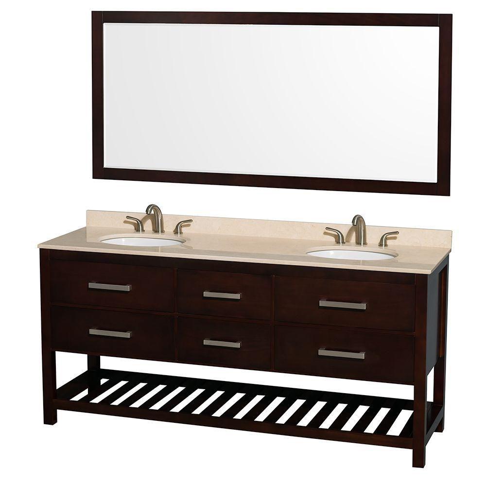 Meuble double Natalie 72 po. espresso, comptoir marbre ivoire, lavabos ovales, miroir 70 po.