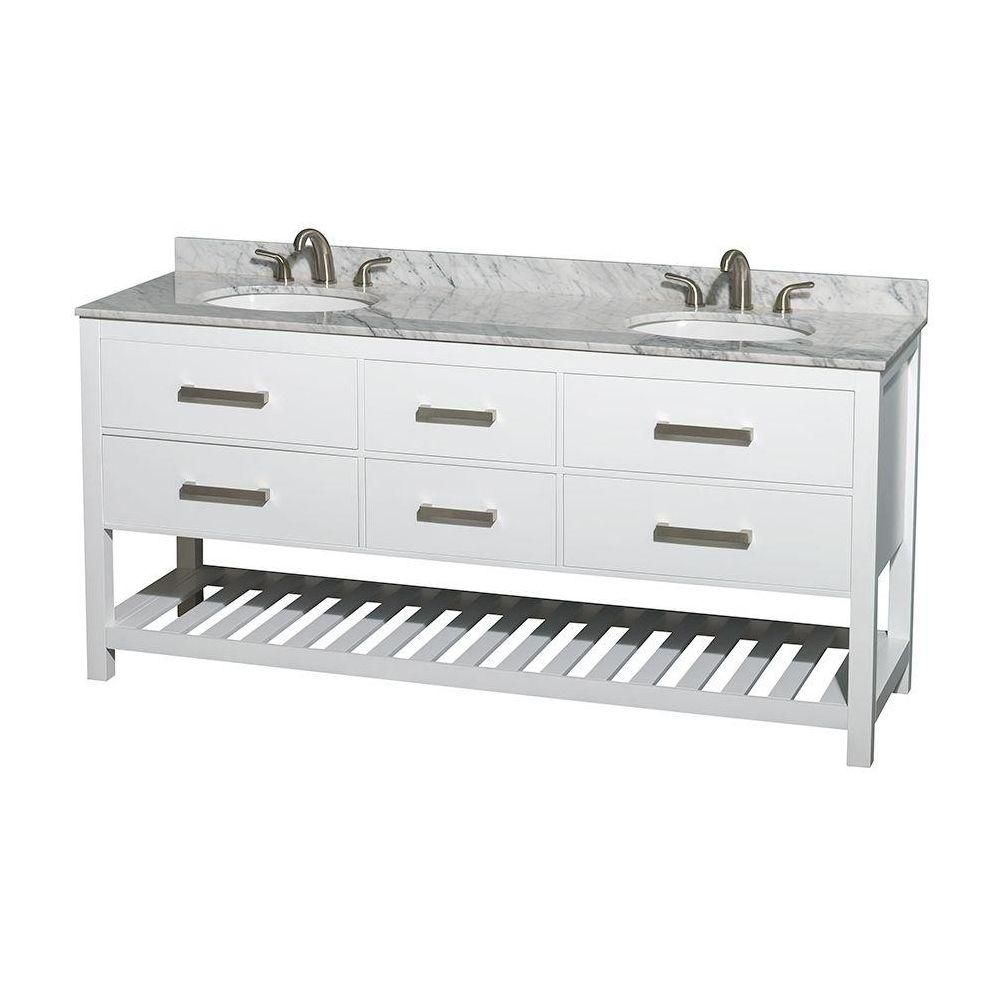 Natalie 72-inch W 4-Drawer Freestanding Vanity in White With Marble Top in White, Double Basins
