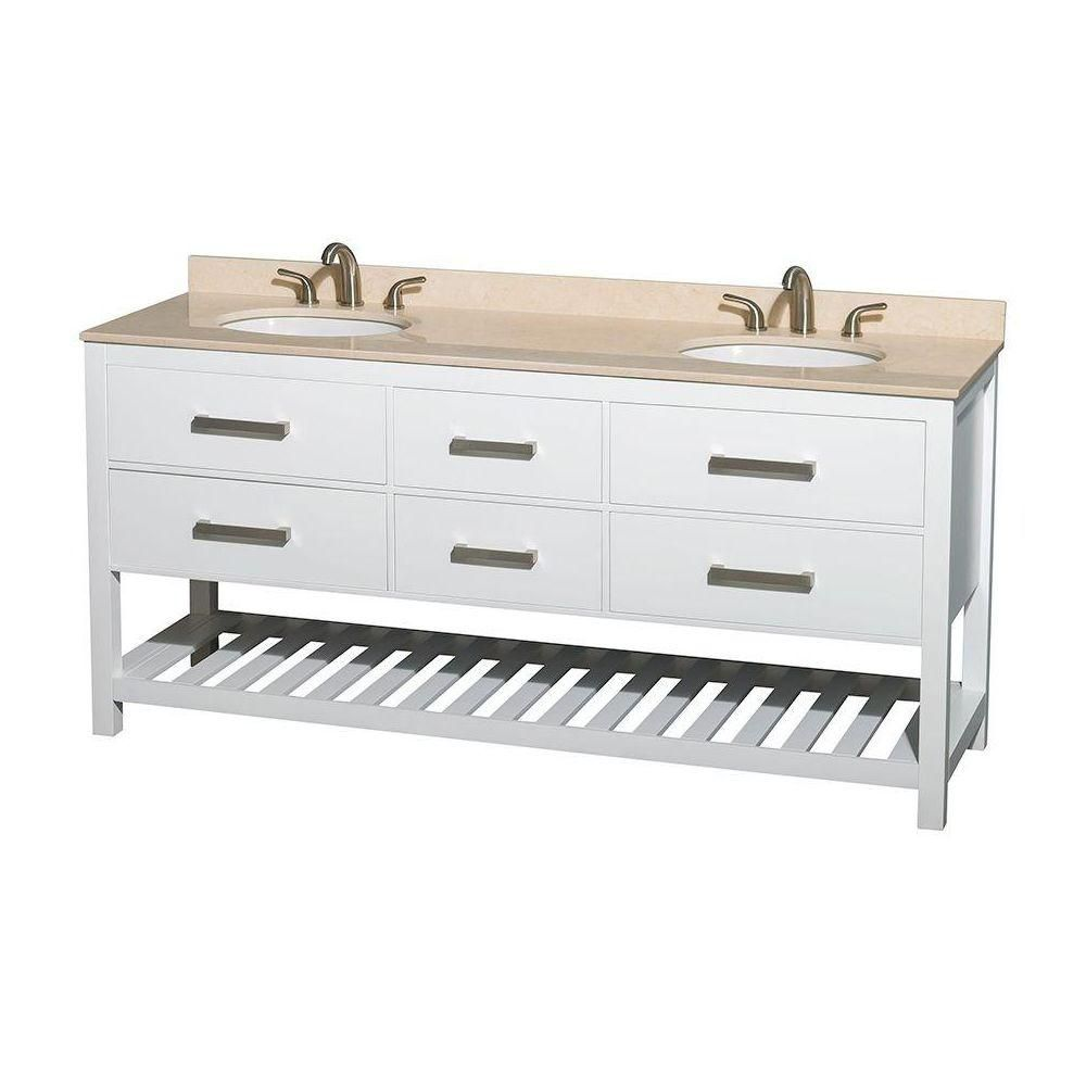 Natalie 72-inch W 4-Drawer Freestanding Vanity in White With Marble Top in Beige Tan, Double Basins