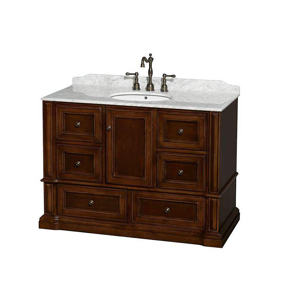 Meuble unique Rochester 48 po., comptoir blanc Carrare, lavabo ovale sans miroir