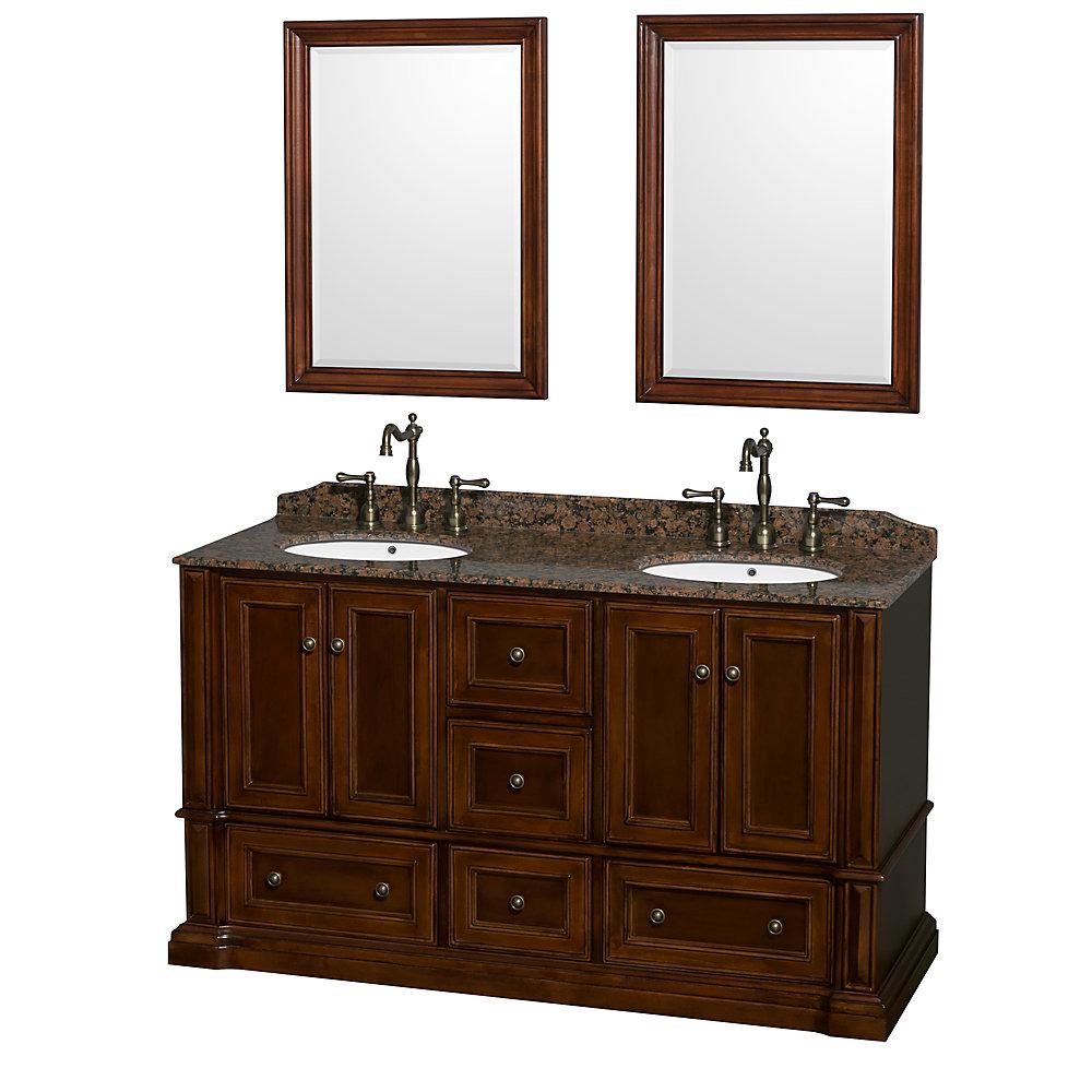 Meuble double Rochester 60 po., comptoir brun baltique, lavabos ovales, miroirs 24 po.