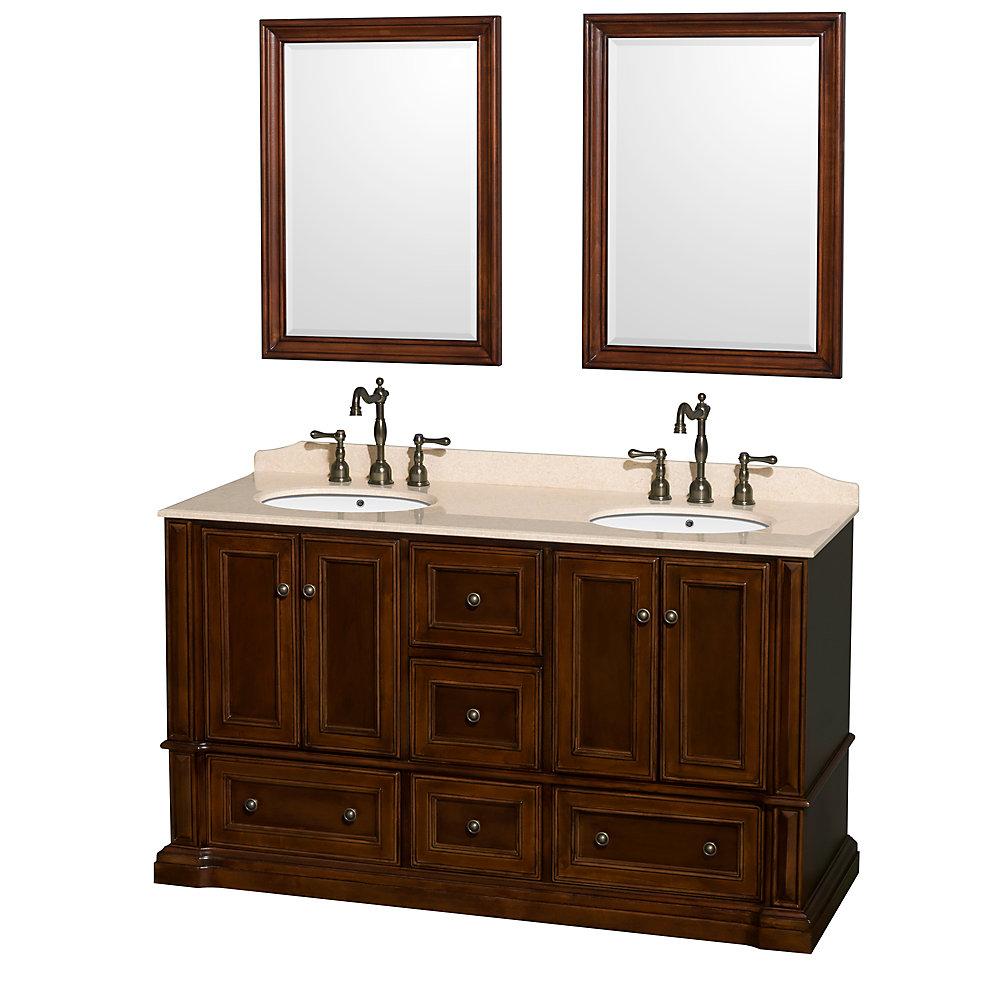 Meuble double Rochester 60 po., comptoir marbre ivoire, lavabos ovales, miroirs 24 po.