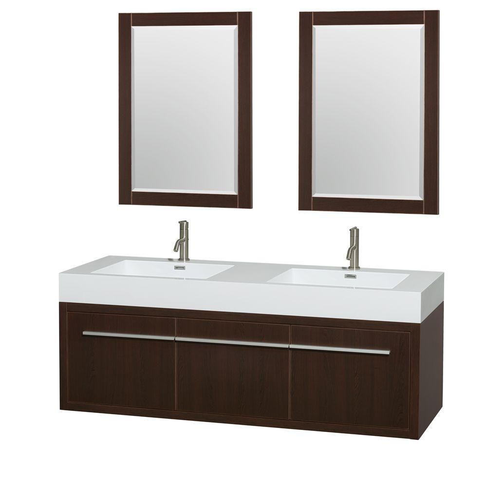 Axa 60-inch W Double Vanity in Grey Oak with Resin Top with Basins and Mirrors