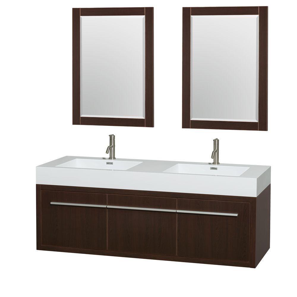 Meuble double Axa 60 po. espresso, comptoir résine acrylique, lavabos intégrés, miroirs 24 po.