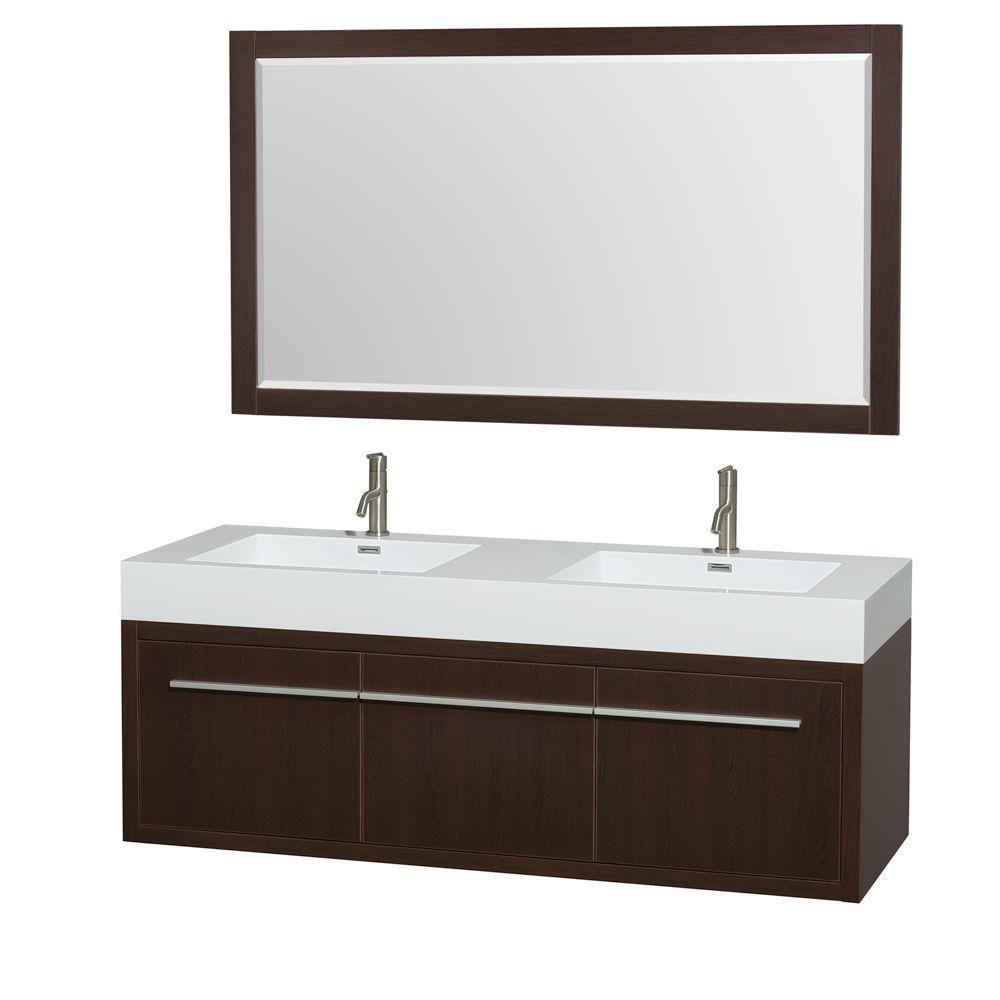Meuble double Axa 60 po. espresso, comptoir résine acrylique, lavabos intégrés, miroir 58 po.