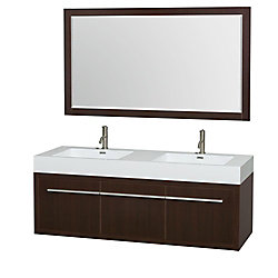 Wyndham Collection Axa 60-inch W 1-Drawer 2-Door Wall Mounted Vanity in Brown With Acrylic Top in White, Double Basins