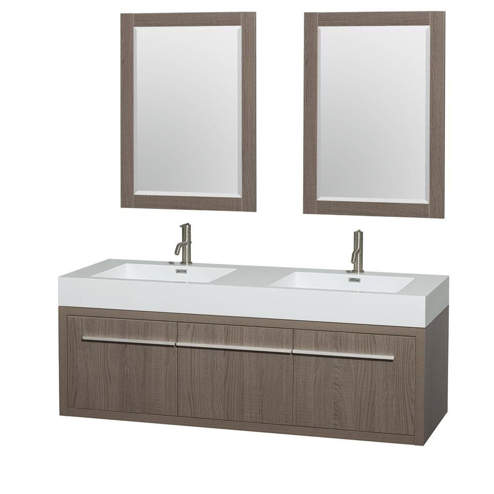 Axa 60-inch W Double Vanity in Grey Oak with Acrylic-Resin Top and 24-inch Mirrors