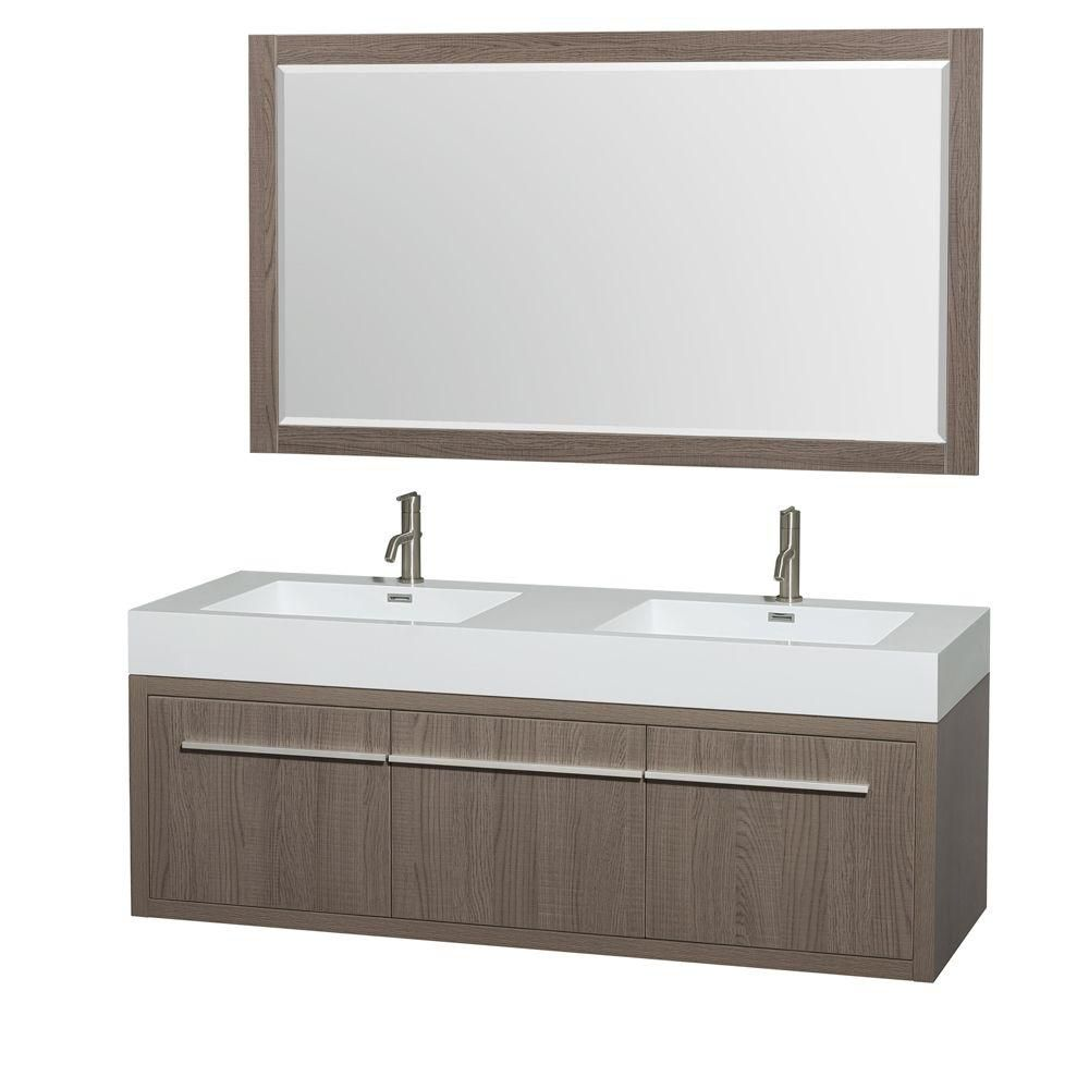 Axa 60-inch W Double Vanity in Grey Oak with Resin Top with Basins and Mirror