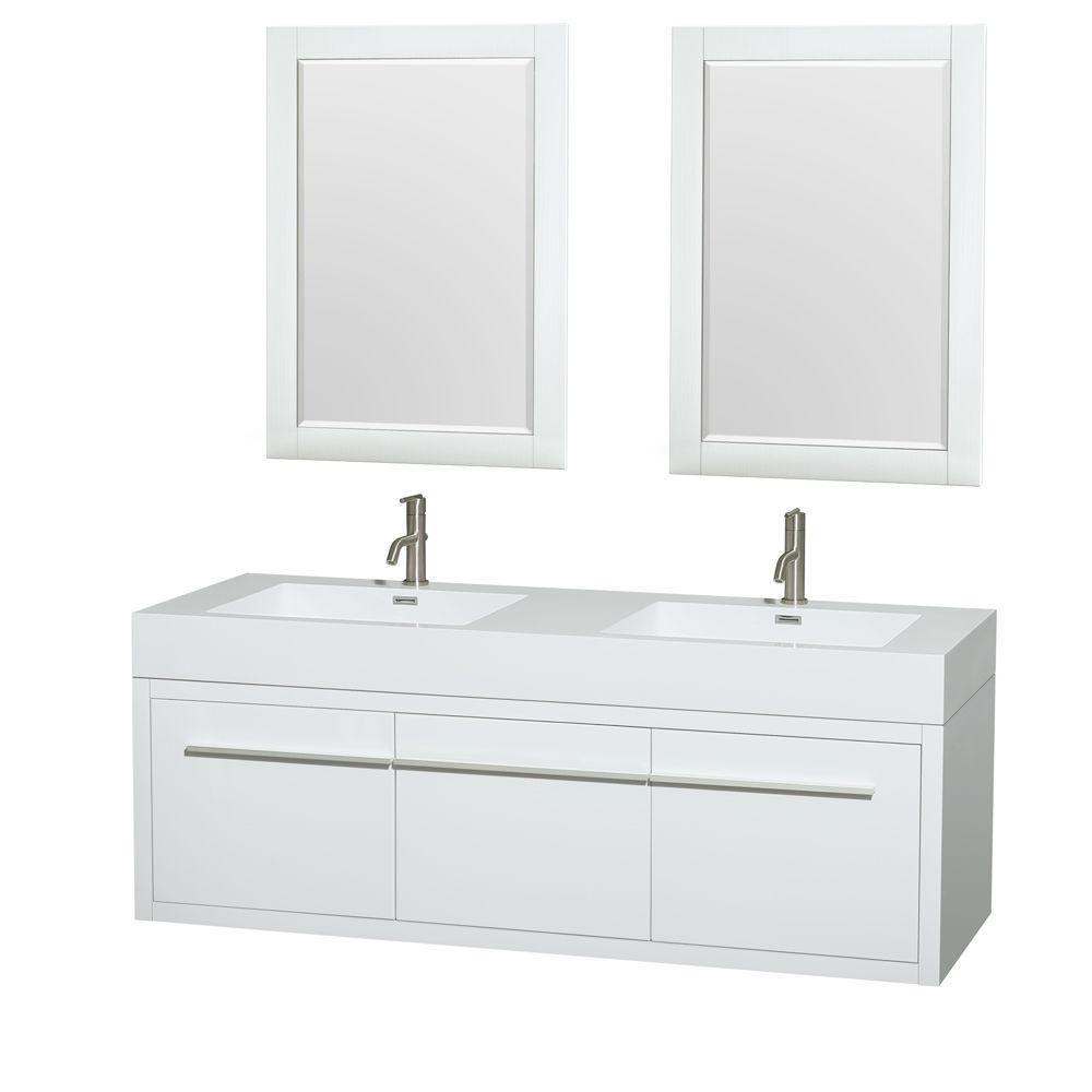 Meuble double Axa 60 po. blanc laqué, comptoir résine acrylique, lavabos intégrés, miroirs 24 po.
