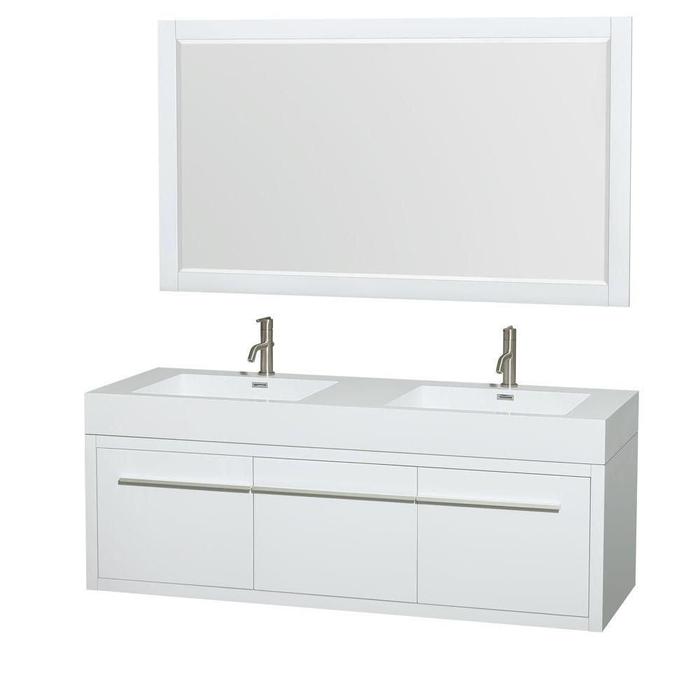 Axa 60-inch W Double Vanity in Gloss White with Acrylic-Resin Top and 58-inch Mirrors