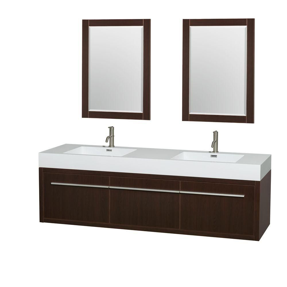Axa 72-inch W Double Vanity in Espresso with Resin Top with Basins and Mirrors