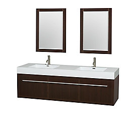 Wyndham Collection Axa 72-inch W 1-Drawer 2-Door Wall Mounted Vanity in Brown With Acrylic Top in White, Double Basins
