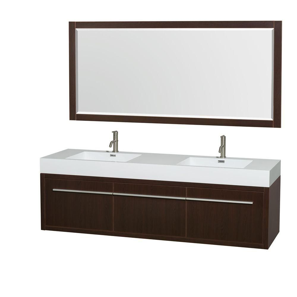 Meuble double Axa 72 po. espresso, comptoir résine acrylique, lavabos intégrés, miroir 70 po.