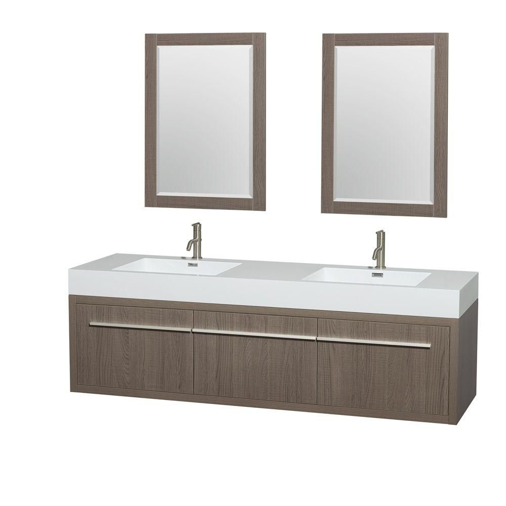 Axa 72-inch W Double Vanity in Grey Oak with Acrylic-Resin Top and 24-inch Mirrors