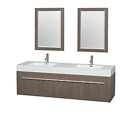 Wyndham Collection Axa 72-inch W 1-Drawer 2-Door Wall Mounted Vanity in Grey Oak w/ Acrylic Top in White, Double Basins