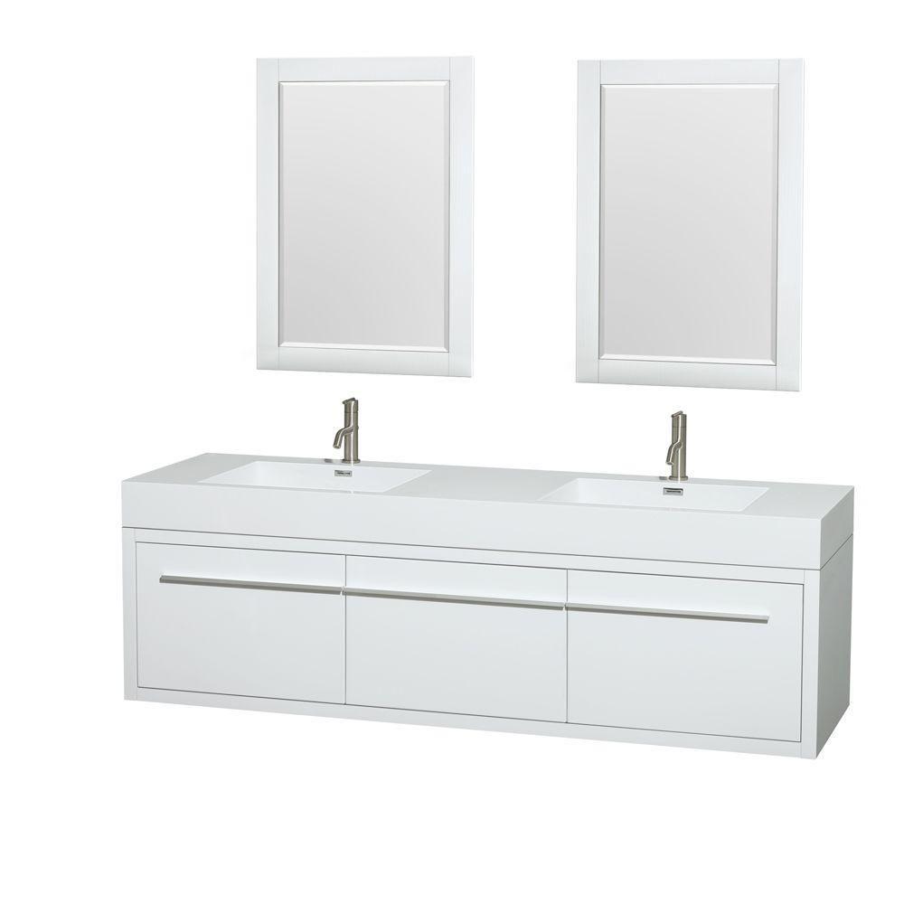 Meuble double Axa 72 po. blanc laqué, comptoir résine acrylique, lavabos intégrés, miroirs 24 po.