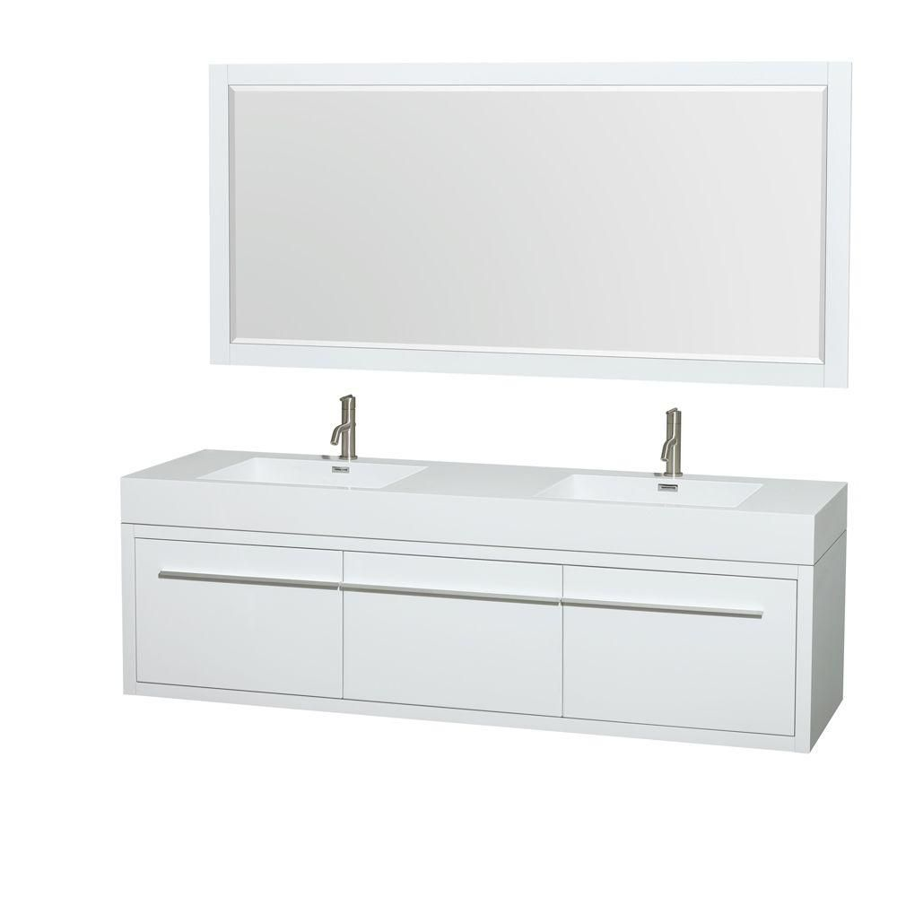 Axa 72-inch W Double Vanity in White with Resin Top with Basins and Mirror
