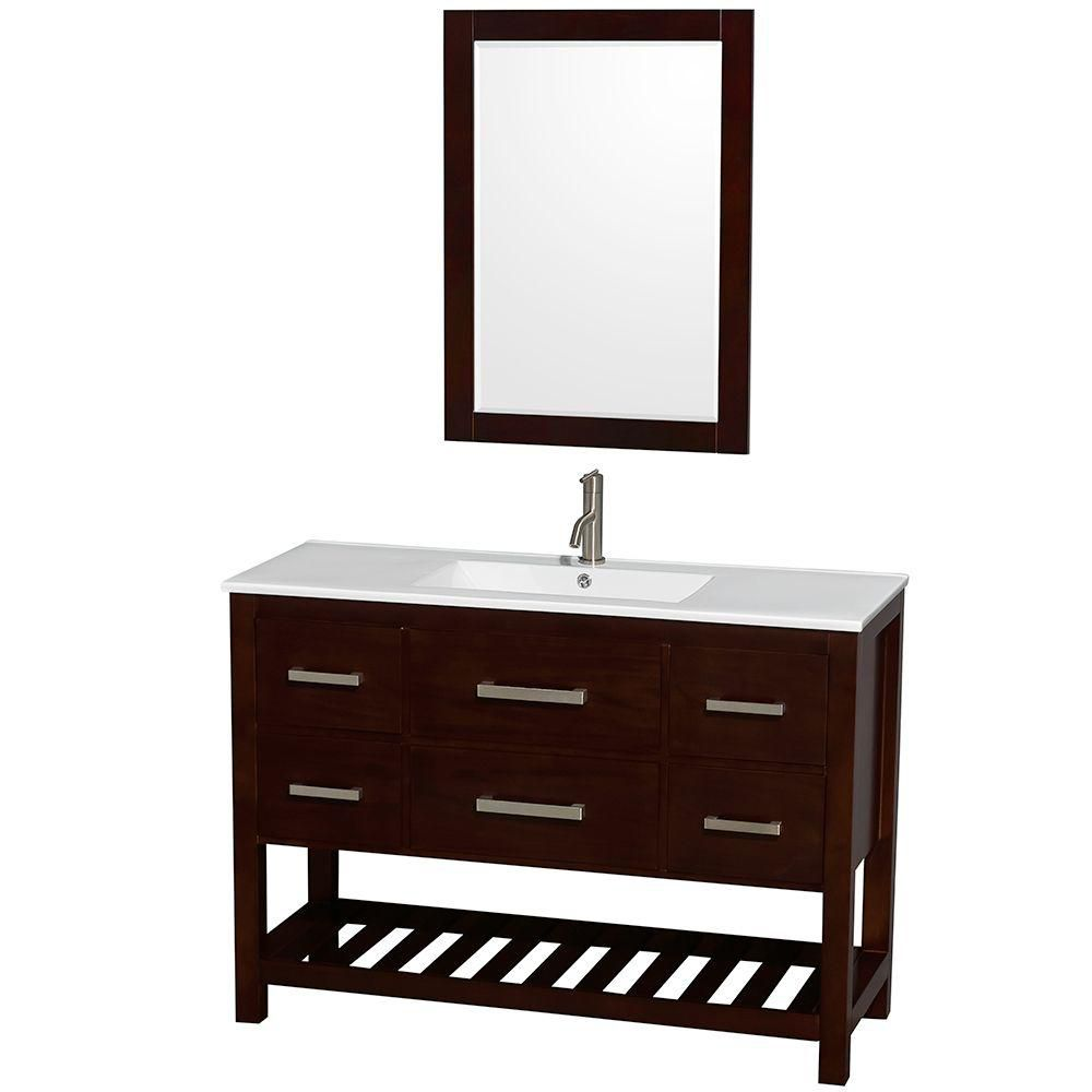 Natalie 48-inch W Vanity in Espresso with Porcelain Top in White and 24-inch Mirror