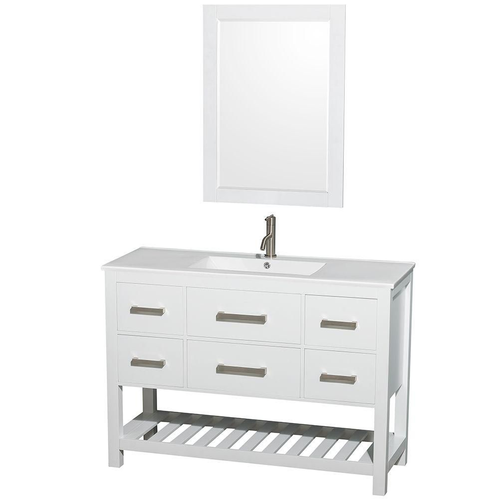 Natalie 48-inch W Vanity in White with Porcelain Top in White and 24-inch Mirror