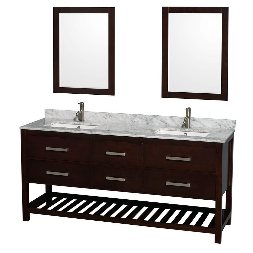 Natalie 72-inch W 4-Drawer Vanity in Brown With Marble Top in White, Double Basins With Mirror