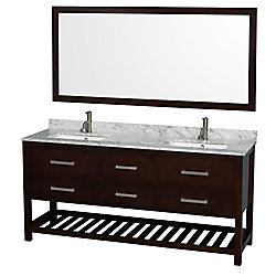 Wyndham Collection Natalie 72-inch W 4-Drawer Vanity in Brown With Marble Top in White, Double Basins With Mirror