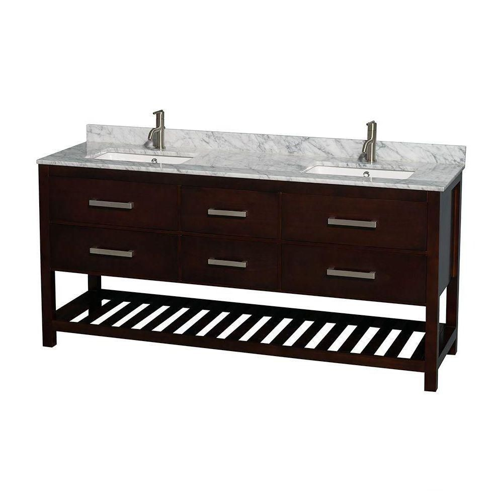 Natalie 72-inch W Double Vanity in Espresso with White Top with Square Basins