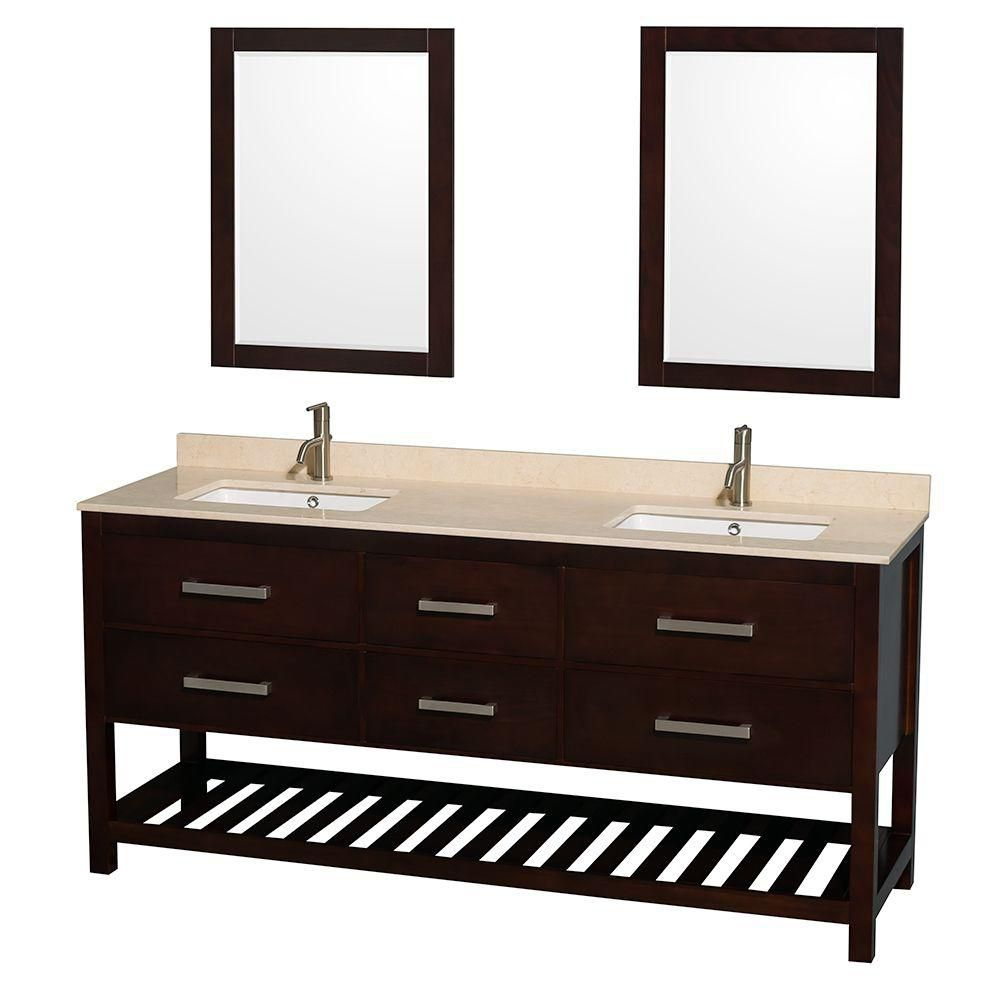 Natalie 72-inch W Double Vanity in Espresso with Marble Top in Ivory with Square Basins and Mirro...