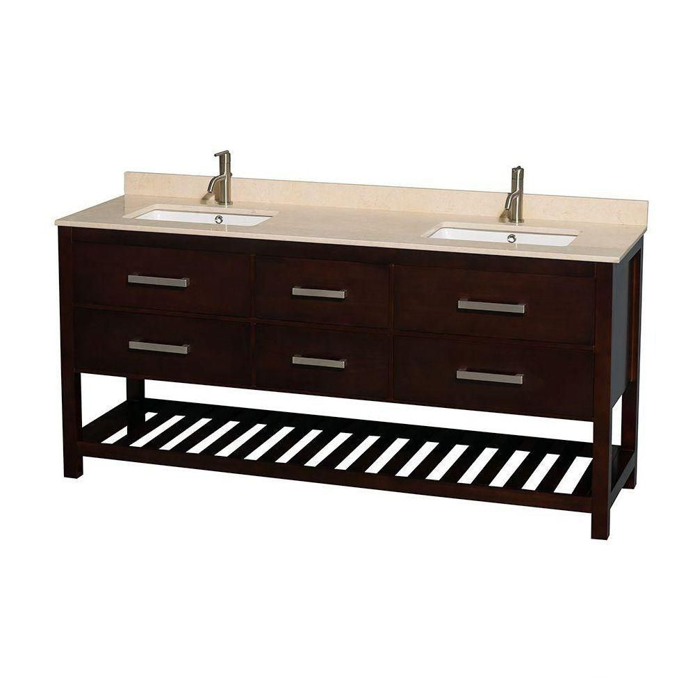Natalie 72-inch W Double Vanity in Espresso with Marble Top in Ivory with Square Basins