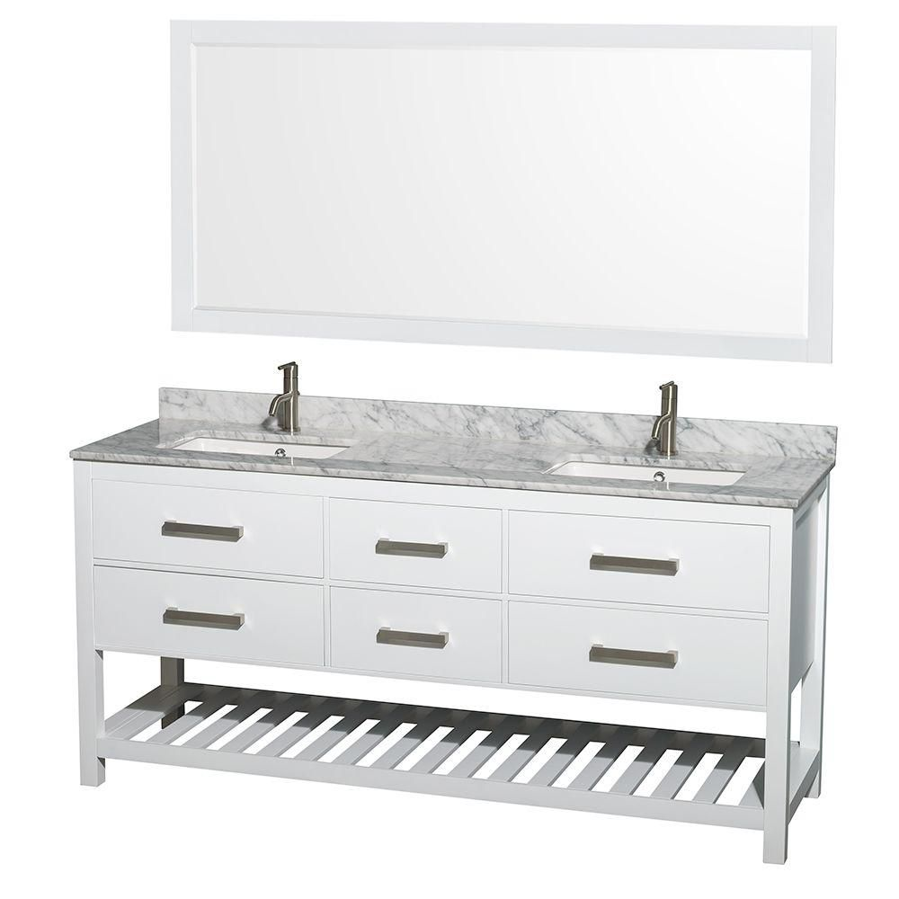 Natalie 72-inch W Double Vanity in White with White Top with Square Basins and Mirror
