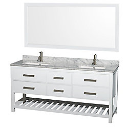 Wyndham Collection Natalie 72-inch W 4-Drawer Vanity in White With Marble Top in White, Double Basins With Mirror