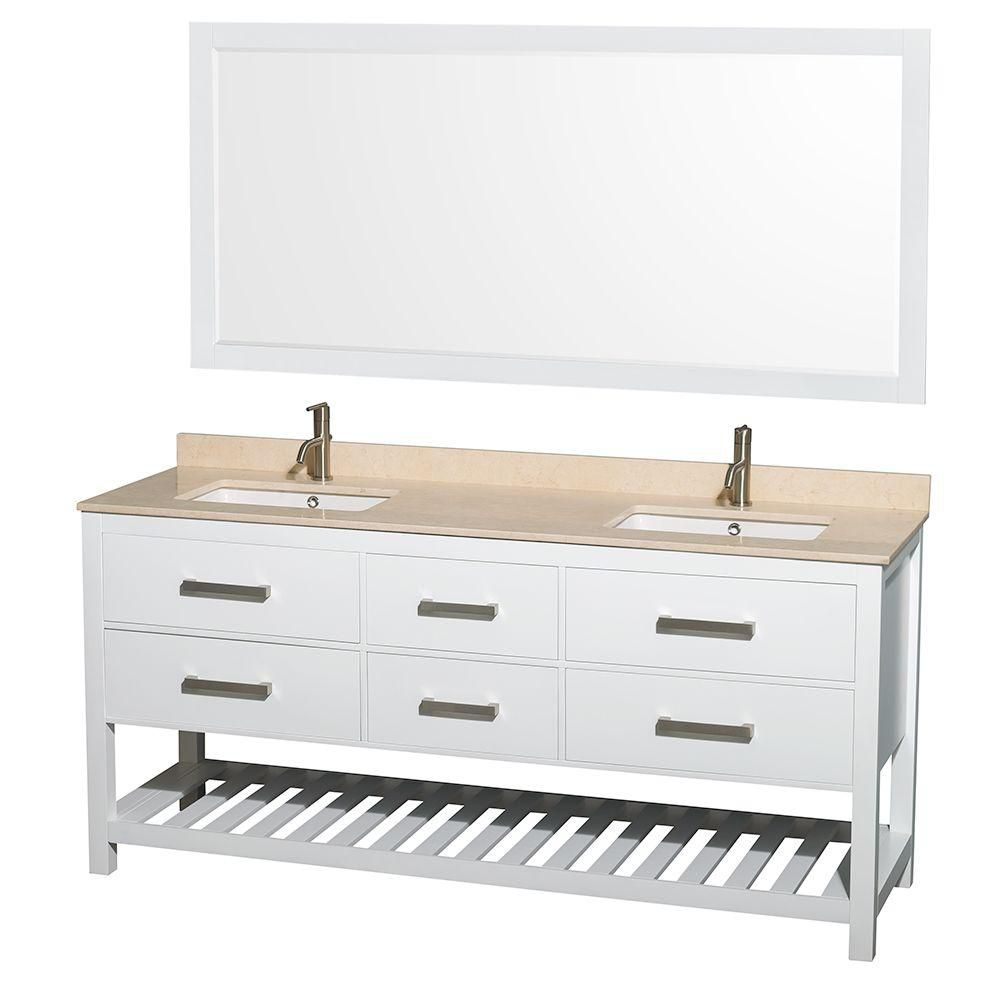 Wyndham Collection Natalie 72-inch W 4-Drawer Vanity in White With Marble Top in Beige Tan, Double Basins With Mirror