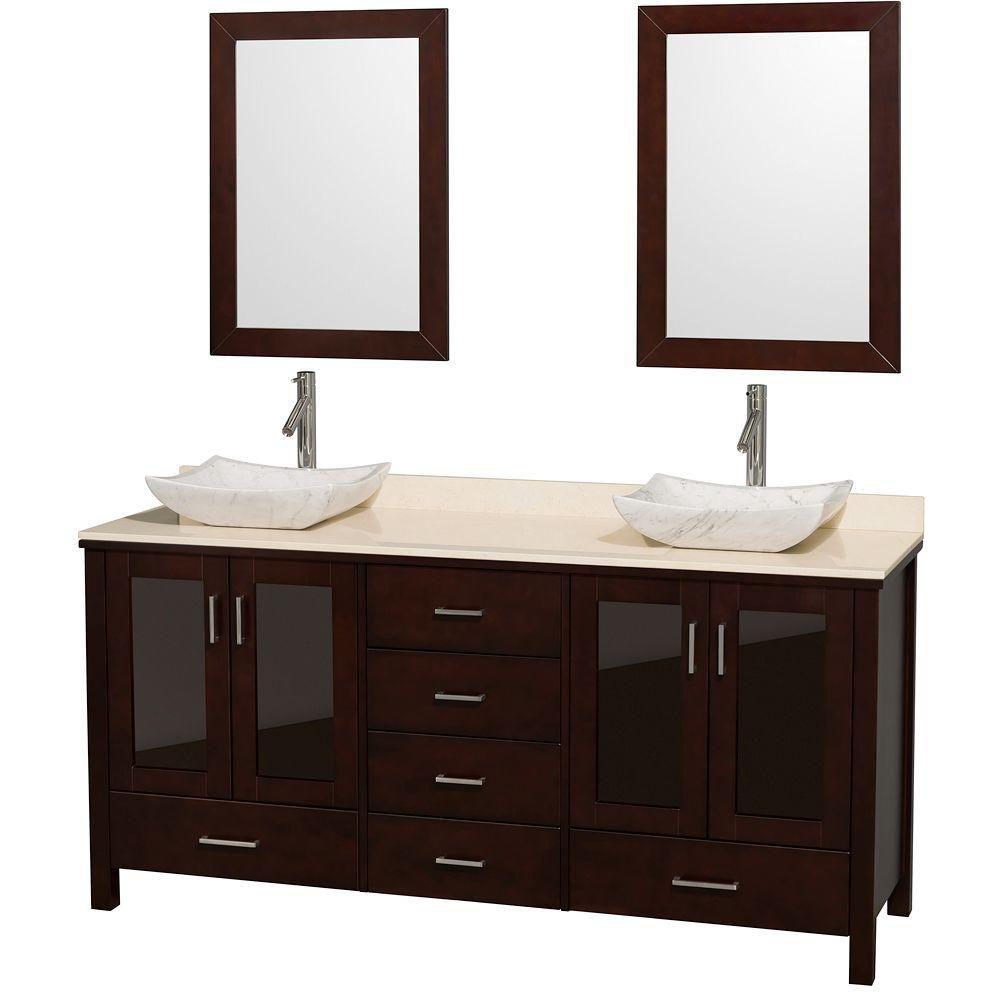 Lucy espresso, comptoir marbre ivoire, lavabos Carrare