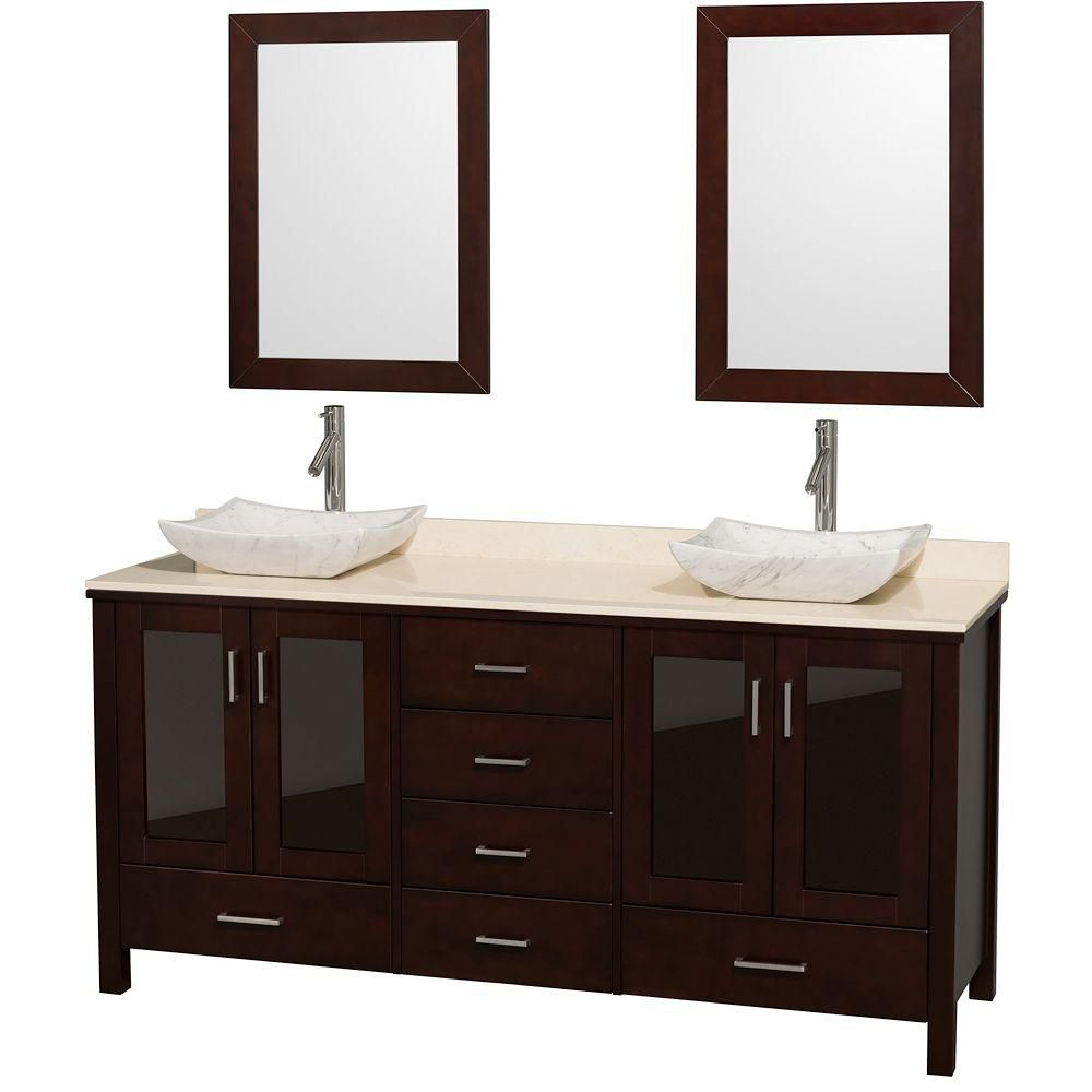 Lucy 72-inch W Double Vanity in Espresso with Marble Top in Ivory with White Basins and Mirrors