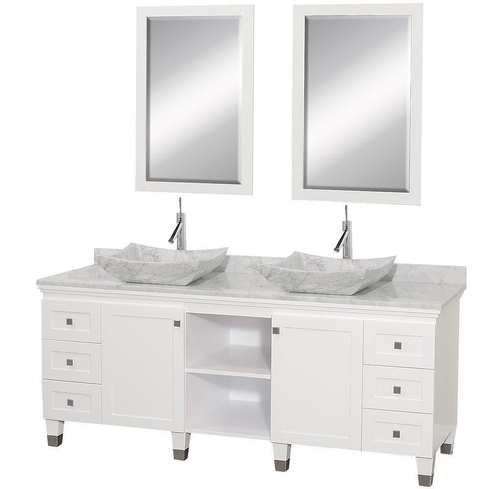 Premiere 72-inch W Double Vanity in White with White Top with White Basins and Mirrors
